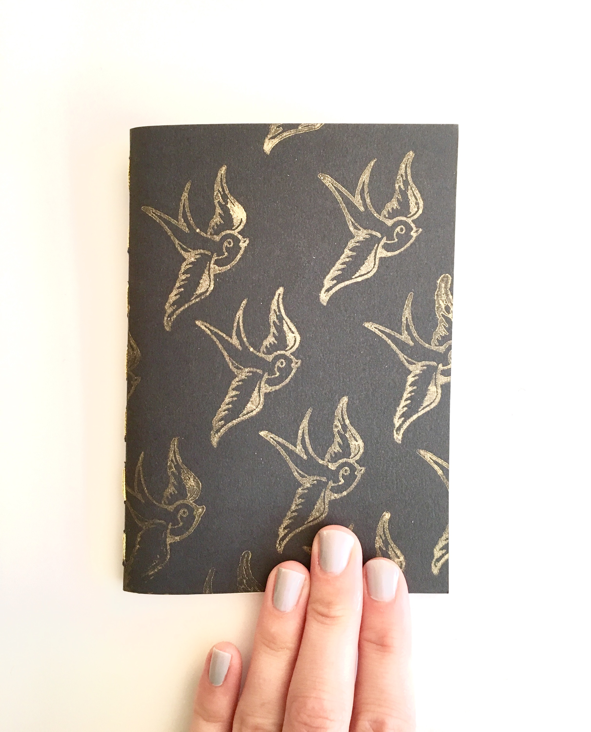 Hand Stamped Black and Gold Swallow Notebook