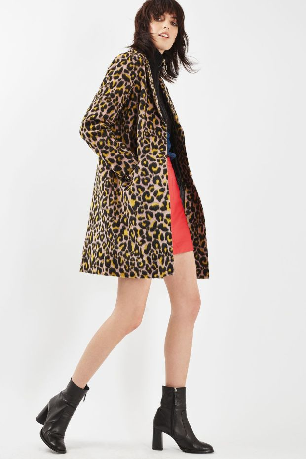 TopShop Leopard Print Boyfriend Coat
