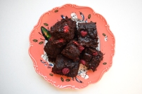 Vegan raspberry russian brownies